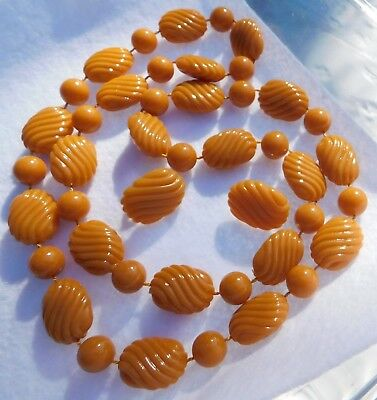 Demi Butterscotch / Amber Color Necklace & Pair Earrings Plastic Beads Textured