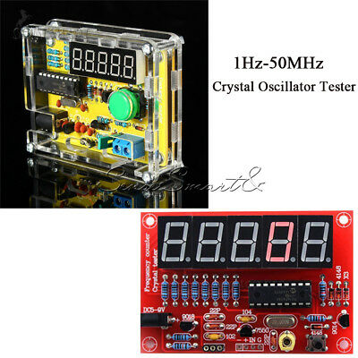 1Hz-50MHz Crystal Oscillator Tester Frequency Counter Meter DIY Kits with  Case