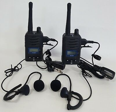 2 x PMR446 COMPACT LICENSE FREE RADIOS WITH EARPIECES & RECHARGEABLE BATTERIES