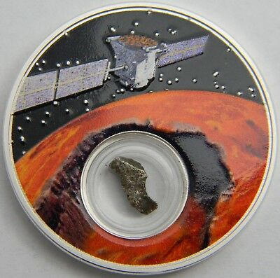 2017 Niue Mission to Mars 1oz Proof Silver Coin w/ encapsulated meteorite & COA