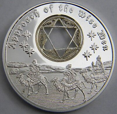 Approach of the Wise Men 1oz Proof Silver Christmas Coin, Handmade Star of David