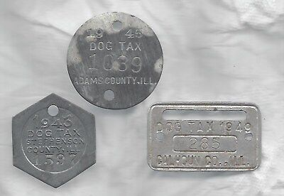 Illinois dog license,  tax tags, 1940s