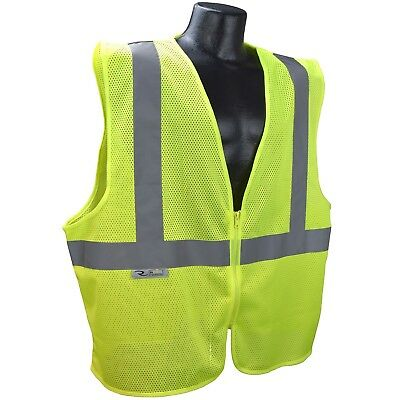 Radians Class 2 Reflective Mesh Safety Vest with Zipper, Yellow/Lime