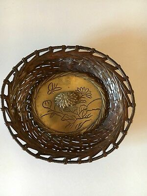 Antique Japanese 1880-1900 Mixed Metal Copper/brass/bronze Weaved Miniture Bowl
