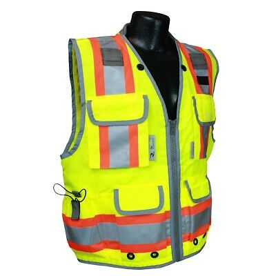 Radians Class 2 Heavy Duty Engineer Safety Vest with Pockets, Yellow/Lime