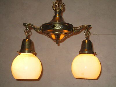 Antique Brass 2 Light Electric Ceiling Fixture Chandelier With Ball Shades