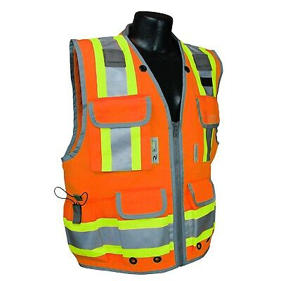 Radians Class 2 Heavy Duty Engineer Safety Vest with Pockets, Orange