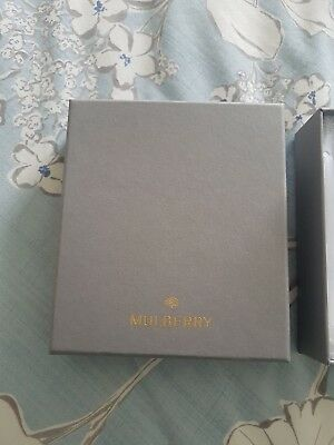 Mulberry gift box - small grey with  gold lettering and embossed tissue paper