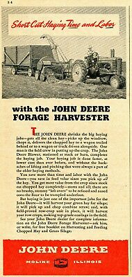 1948 Print Ad of John Deere Forage Harvester Farm Tractor