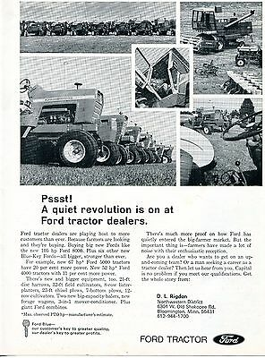 1968 Dealer Print Ad of Ford Full Line 8000 5000 4000 Farm Tractor & Combine