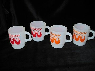 Vintage Set Of 4 Fire King / Anchor Hocking Milk Glass Droopy Loop Mugs