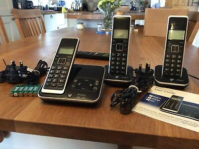 BT Xenon 1500 Cordless Phone with Answering Machine Triple H&sets Black landline