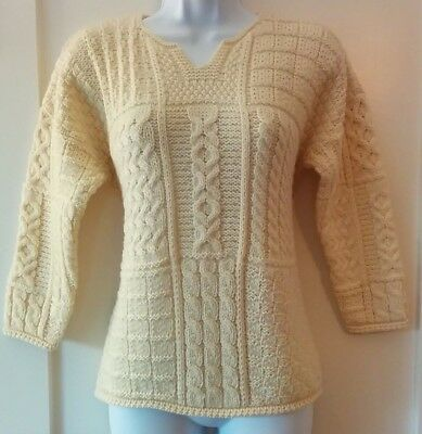 CARRAIG DONN-Kids Sizes L & XL Natural Merino Wool Aran Sweater Notched Crewneck