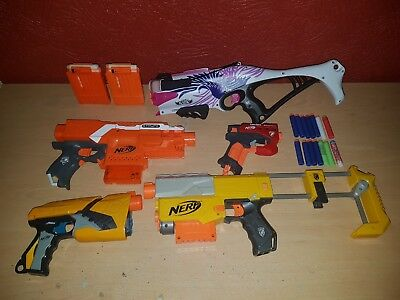 Nerf Gun Bundle Joblot Elite N-Strike Recon CS 6, Stryfe, Ammo Cartridges.