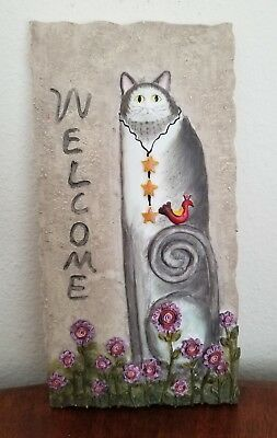Hand Painted Grey and White Cat Welcome Sign