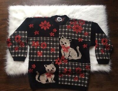 Vintage Womens Plus Size 90s Cata Kittens All Over Print Crewneck Sweater