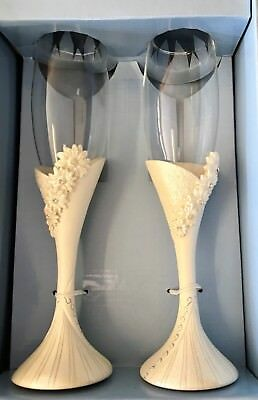 Decorative Champagne Flutes. Wedding Birthday Anniversary Gift. Brand New In Box