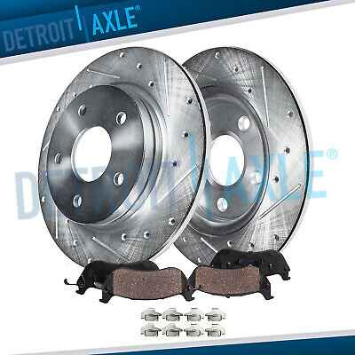 Drilled Slotted Rear Disc Brake Rotors & Ceramic Pads 2009-2017 Accord Acura TSX