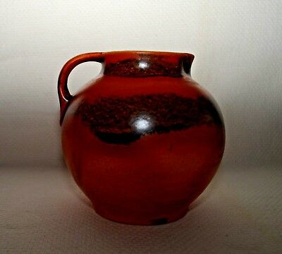 Vintage USA Red Wing Rumrill Art Pottery Mottled and Glazed Oriental Red Pitcher