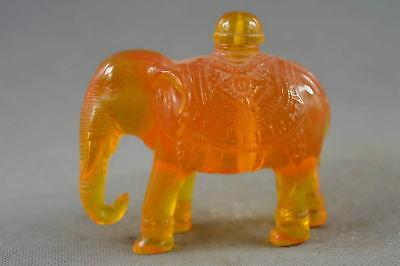 Collectable Handmade Amber Carve Auspicious elephant Delicate Lucky Snuff Bottle