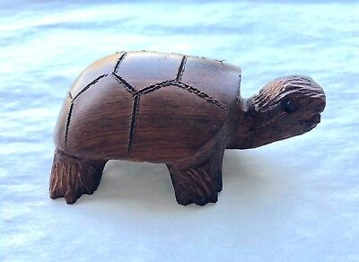 Carved Wooden Land Turtle Figurine