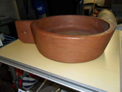 "VINTAGE Teak Bowl THAILAND Wooden Salad 16"" dia x 5"" Serving Wood Hanging"