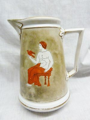 lovely victorian greek jug man torso woman hand painted 1880s staffordshire old