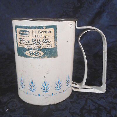 Vintage Androck Single Screen One Hand Blue Wheat Pattern 3 Cup Flour Sifter