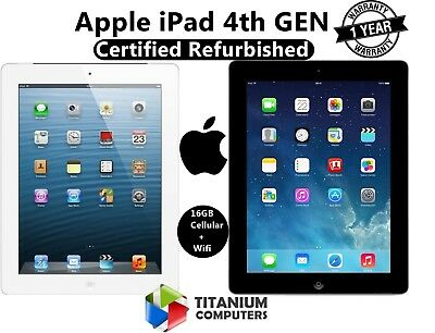 Apple iPad 4th Generation Dual Core 16GB Wi-Fi 9.7in - Cellular 4G - Black/White