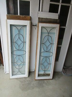 2 Antique Leaded Windows WITH BOTTOM TO MAKE SIDE LITES