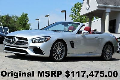"Mercedes-Benz SL-Class SL550 Roadster 2017 Driver Assistance PKG 19"" AMG Wheels Panorama Roof Silver on Bengal Red"