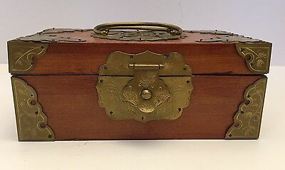 Wood And Brass Hinge Lid Asian Style Trinket/Jewelry Box With Handles