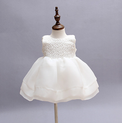 Cream White Ivory Flower Baby Girl Wedding Pageant Lace Dress With Hat 6M