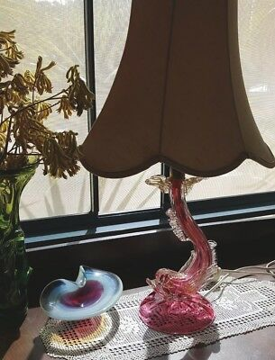 Murano  Mythical Dolphin Vintage Pink Lamp And Shade