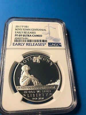 2017-P US Boys Town Commemorative Proof Silver Dollar - NGC PF69 Early Releases
