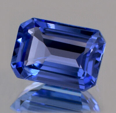 1.00 CT Emerald Cut 100% Natural Tanzanite Violet Blue AAA+ Color VVS1