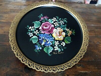 "Vintage 18"" Round Metal Signed Tole Painted Tray with Gold Filigree Trim Nashco"