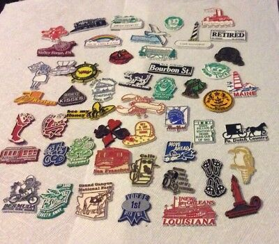 Vintage lot of 50 Rubber Refrigerator Magnets Funny And Travel