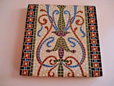 Minton's China Works Stoke Trent Roman Mosaic Type Tile 6 in by 6 in Multicolor