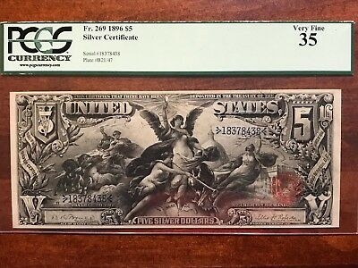 1896 $5 Silver Certificate Educational Note PCGS Graded VF 35 FR 269