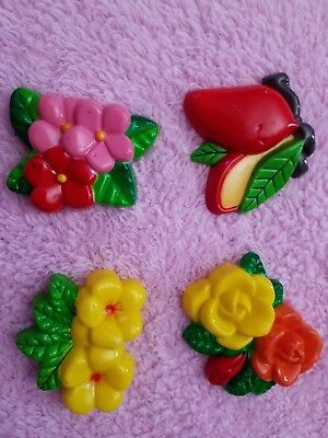 Vintage Lot 4 Fridge Refridgerator Magnets Flowers Fruit