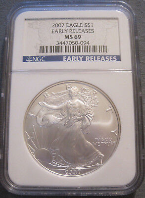 2007 Silver Eagle 1 Oz Coin Ms69 Early Releases Ngc Blue Label // Mc 331