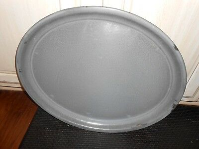 Rare Grey Graniteware Extra Agate L&g Mfg. Nickel Steel Ware Huge Platter