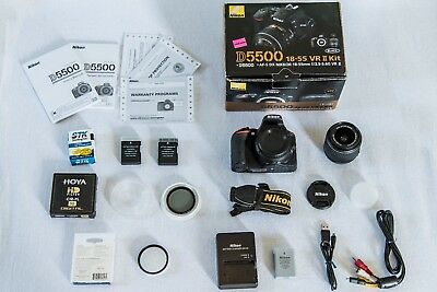 Nikon D5500 18-55 VR II Kit DSLR Camera Black + accessories