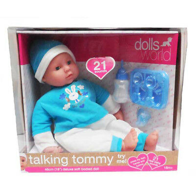 Dollsworld Talking Tommy Baby Doll Pretend Play 46cm Makes Baby Sound Bottle