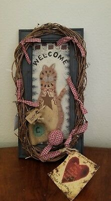 """Country Style, Hand Crafted Cat Welcome Sign 12"""" x 6"""""""