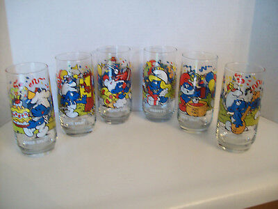 Set of 6 PEYO Smurf Hardees 1983 Promo Glass Tumblers excellent .