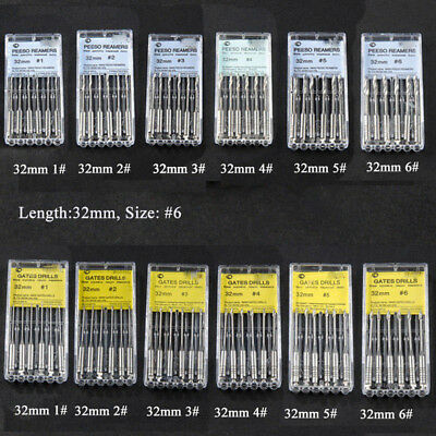Dental Endodontic Root Peeso Reamers GATES DRILLS 32mm #1 #2 #3 #4 #5 #6
