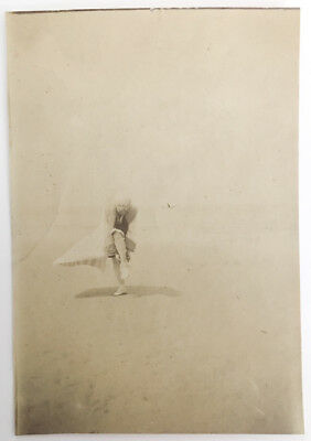 Woman Beach Bathing Suit Swimsuit Odd Unusual Abstract Weird Pose Found Photo