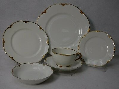 HAVILAND china Limoges France RANSON GOLD 6-piece Place Setting